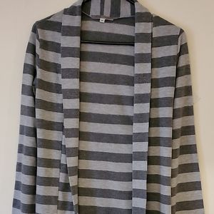 Gray striped sweater jacket